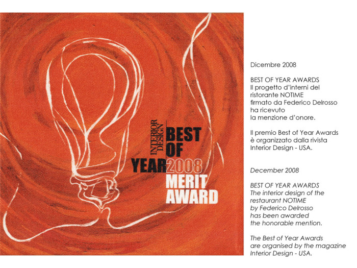 Best of year award for Notime restaurant by Federico Delrosso
