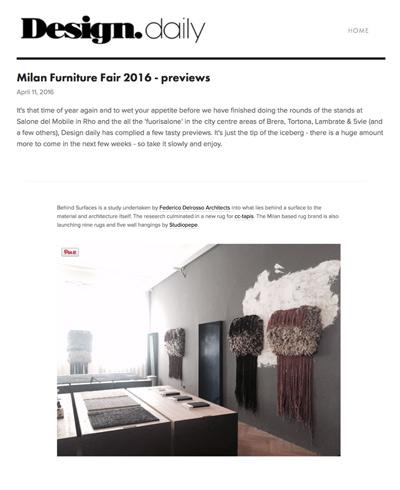 Federico Delrosso su DesignDaily 11-04-2016 cover