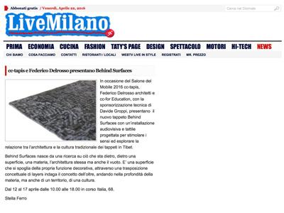 Federico Delrosso su LiveMilano 05-05-2016
